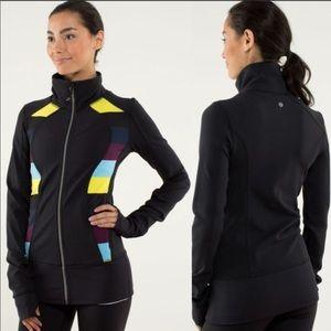 Lululemon Nice Asana Zip Up Jacket Black Stripe